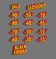 discount logo set sale black friday 3d vector image