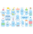drink more water bottles glass and jug vector image