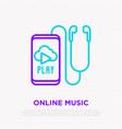 earphones smartphone with online music line icon vector image
