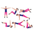 fitness and workout exercise set icons in flat vector image