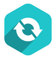 flat arrow sign refresh icon hexagon button vector image vector image