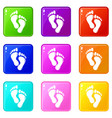 footprints icons set 9 color collection vector image