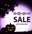 halloween sale on square violet background vector image