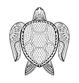 Hand drawn sea Turtle for adult coloring pages in vector image vector image