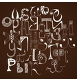 Handdrawn russian doodle alphabet Random letters vector image vector image