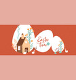 happy easter cute rabbit farm house banner vector image vector image