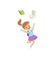 happy little girl jumping with books elementary vector image vector image