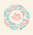 happy new year multicolored wreath composition vector image vector image