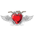 heart with floral and wings vector image vector image