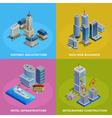 Isometric City 2x2 Icons Set vector image vector image