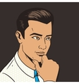 Man thinking hard pop art style vector image vector image