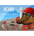 Mountain climbing adventure background banner vector image