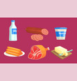 natural milk and meat products set milk sausage vector image