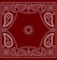 paisley bandana- red and white pattern vector image vector image