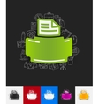 printer paper sticker with hand drawn elements vector image