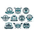 sea anchor and boat helm nautical badge set vector image