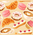 seamless pattern with coffee and donuts vector image vector image