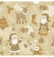 Sepia holiday seamless pattern vector image vector image