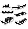 set canoe boat raft design element for poster vector image