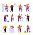 set flat professional construction workers vector image