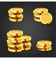 set golden stack dollar coins isolated on dark vector image vector image