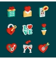Set of flat isometric valentines day icons vector image vector image