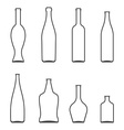 Set of Glass Bottles icons Wine beer whiskey vector image vector image