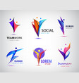 set of human man logos icons e vector image vector image