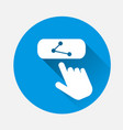 share button icon with a flat shadow the hand vector image vector image
