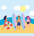 summer people activities couple with surfboards vector image