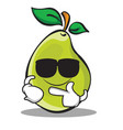 super cool pear character cartoon vector image vector image