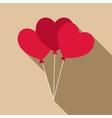 Three hearts icon flat style vector image