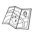 tourist road map paper map vector image vector image