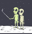 two aliens make selfie vector image vector image