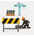 worker construction brick wall barrier crane vector image vector image