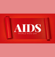 world aids day red ribbon banner vector image vector image