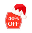 40 off inscription in red festive christmas label vector image