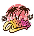aloha surfing time poster template with lettering vector image