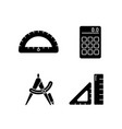 architecture student tools black glyph icons set