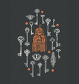 banner with vintage keys keyholes and old building vector image