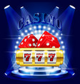 big win or jackpot - 777 on slot machine casino vector image