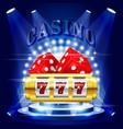 big win or jackpot - 777 on slot machine casino vector image vector image