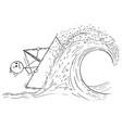 cartoon of businessman sailing paper ship or boat vector image