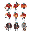 cartoon set of lumberjack in different actions vector image vector image