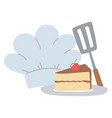 chef hat and slice cake isolated icon design white vector image vector image
