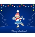 Christmas card with cartoon girl skating vector image vector image