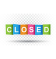 closed tag market message flat on isolated vector image vector image