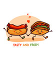 cute cartoon fast food logo icon vector image vector image