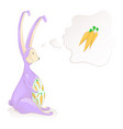 cute easter bunny thinks about the carrots vector image vector image