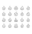 fire simple black line icons set vector image vector image